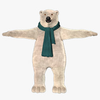 cartoon polar bear fur 3d model