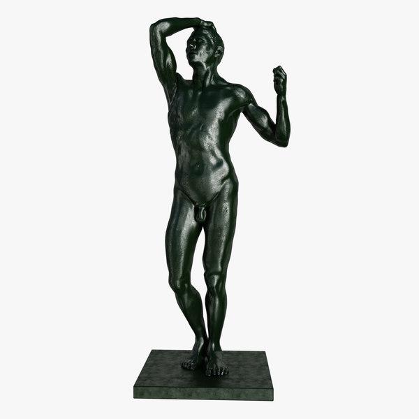3d statue age bronze rodin