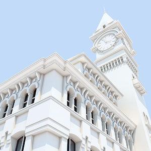 3d city building clock tower model