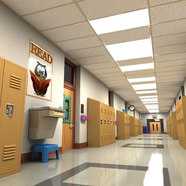 3d model school hallway