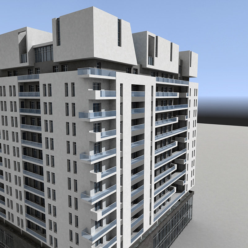 3d model residential building modern