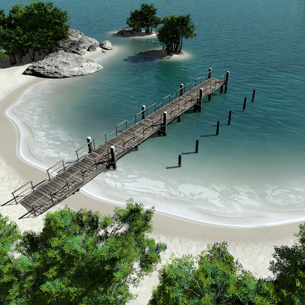 c4d modeled island pier