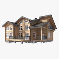 3d log house
