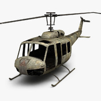 3d model rusty helicopter bell uh-1