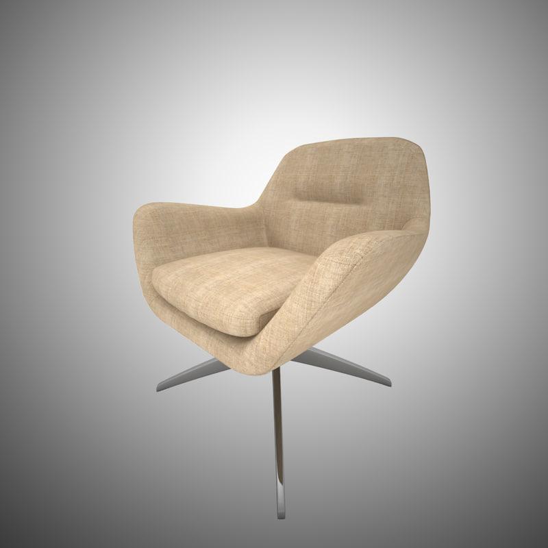 design armchair beige fabric 3d max