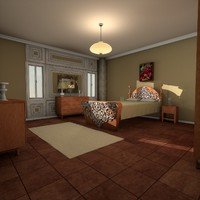 exquisite bedroom room bed c4d