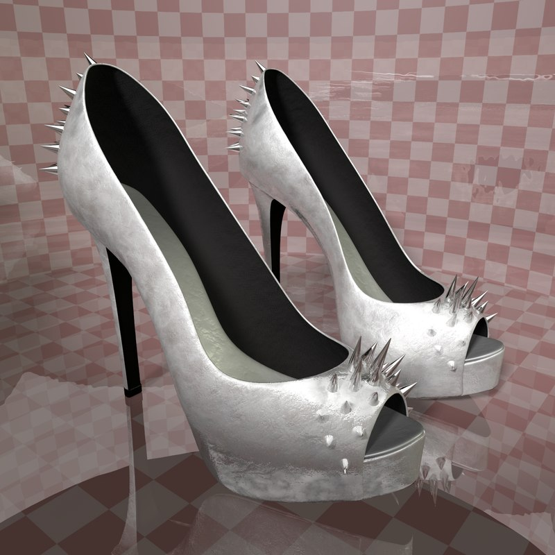 cinema4d spiked silver heel shoes