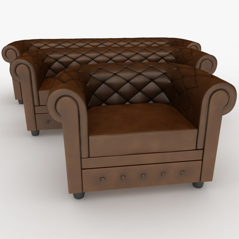 realistic chester sofa set 3d max