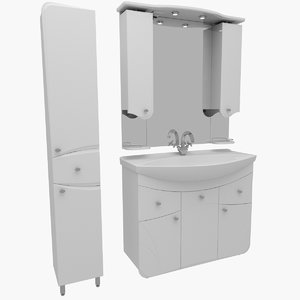 3ds max bathroom furniture mirror wash basin