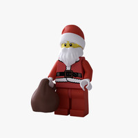 rigged lego santa claus 3d obj