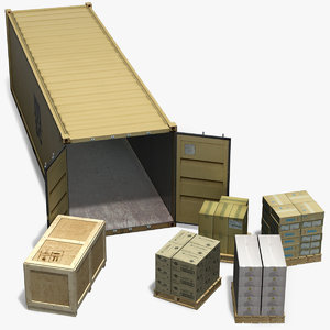 3d model containing freight