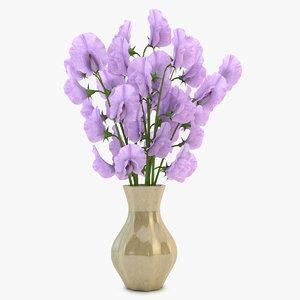 sweet peas vase violet 3d max