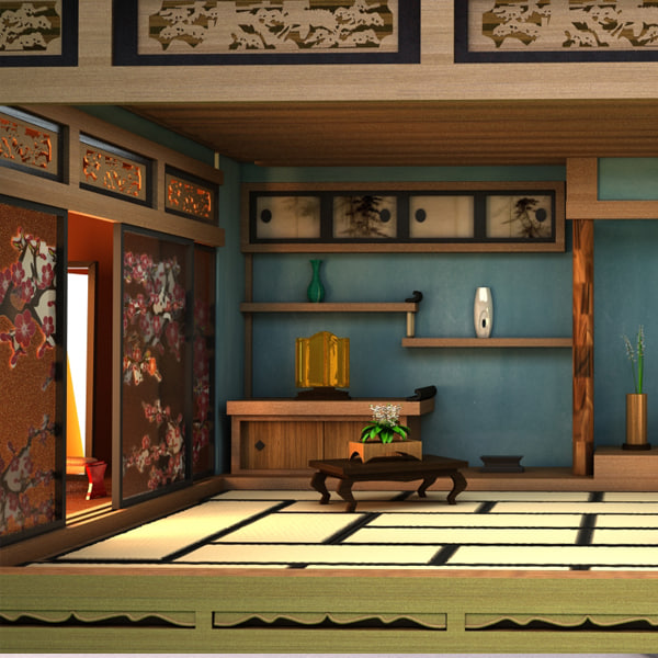 3d interior japanese room