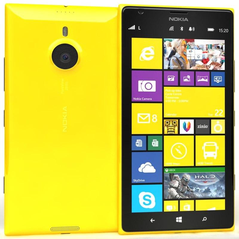 3d nokia lumia 1520 yellow model