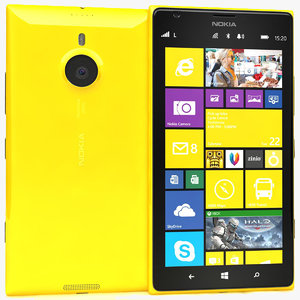 3d nokia lumia 1520 yellow model