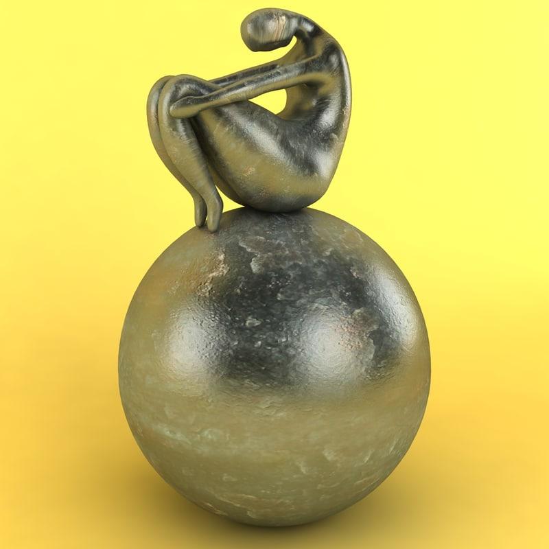 3d figure resting sphere model