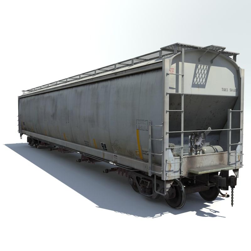 3d railway hopper car rail