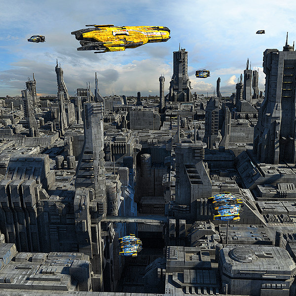 3d sci-fi city scenes scifi space