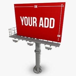 3d model billboard 6 metres