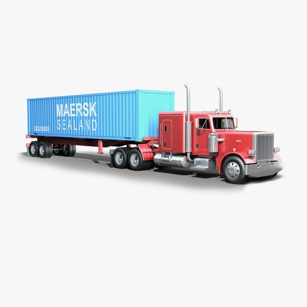 359 truck trailer 3d 3ds