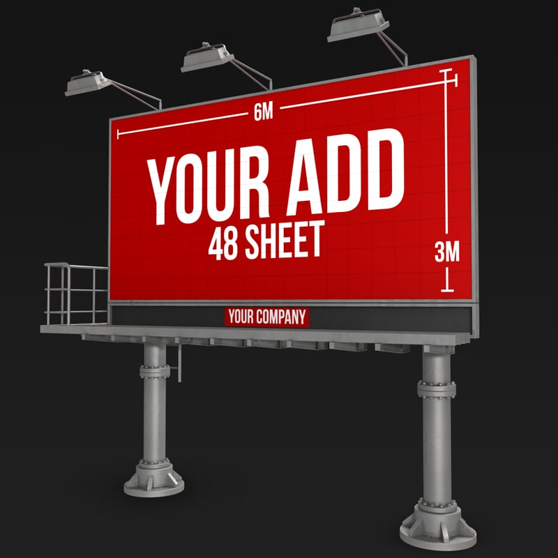 billboard 48 sheet pillars 3d lwo
