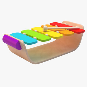 wooden toy xylophone 3d model