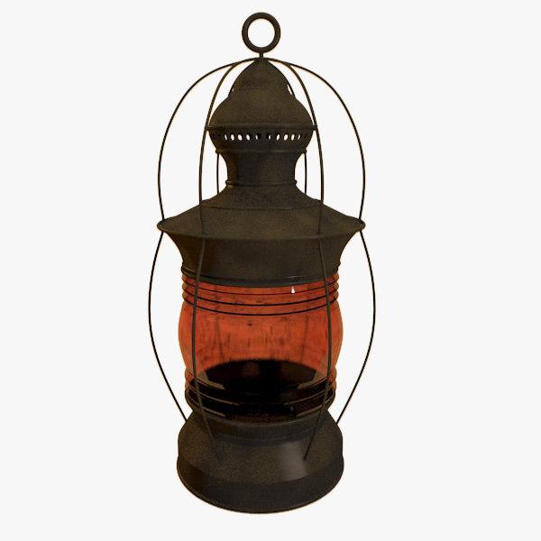 old worn lantern 3d max