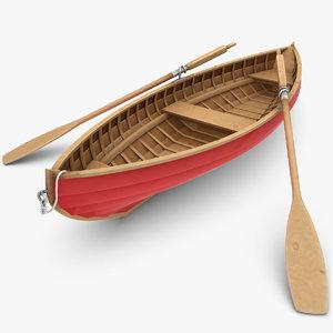 realistic rowboat 3d model