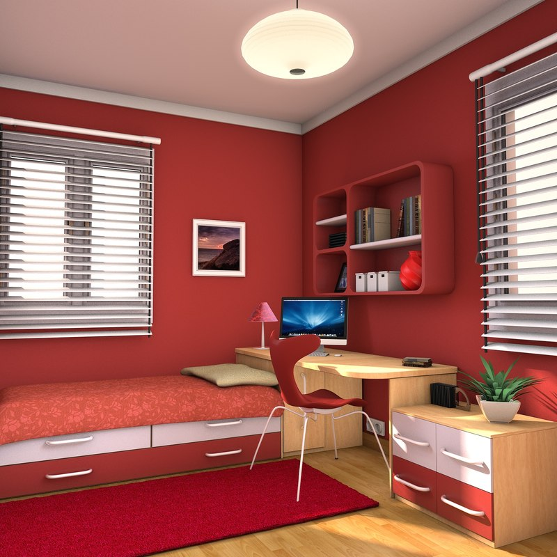 Teen room bedroom max for 3d model room design