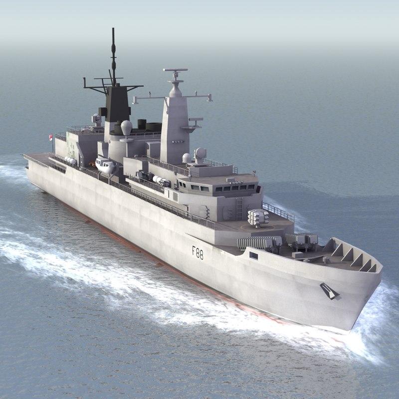 hms broadsword f88 ships 3d model