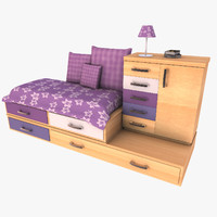 drawer cabinet bed set 3d model
