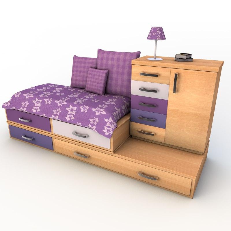 drawer cabinet bed set 3d model