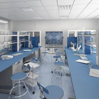 3d interior scientific laboratory