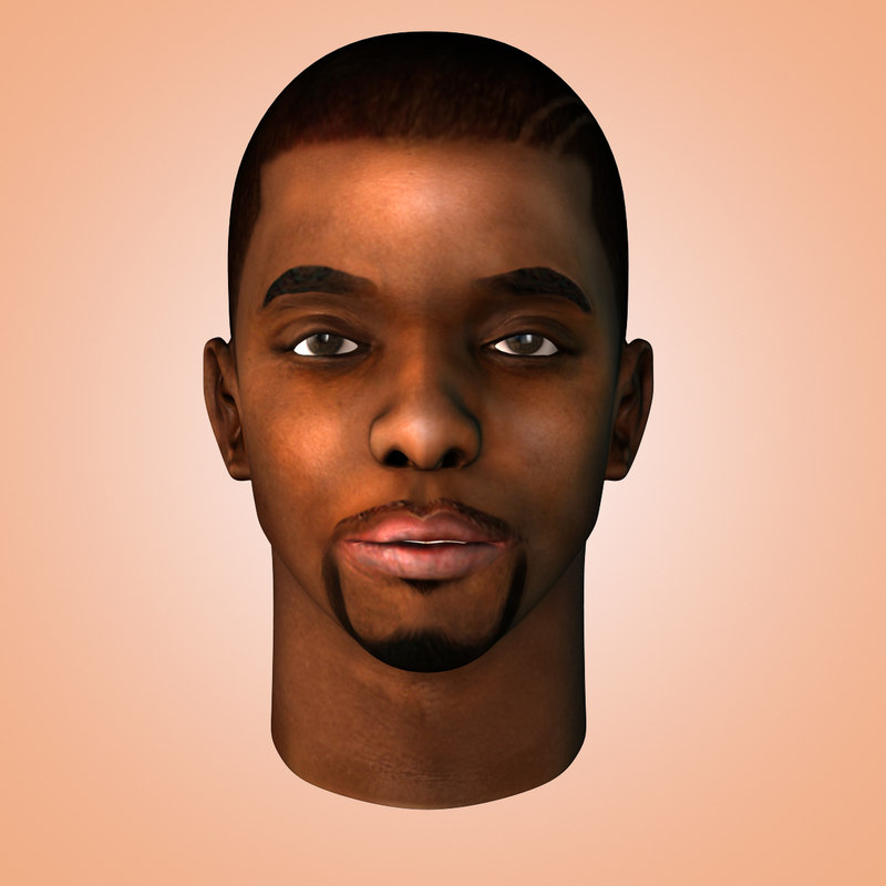 african head black male 3d model