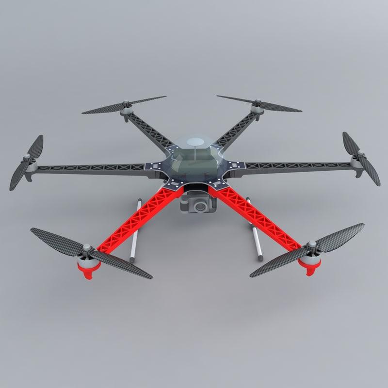 3d model of multi-rotor aerial platform camera