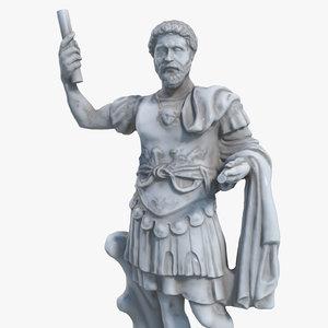 3d ancient roman statue model