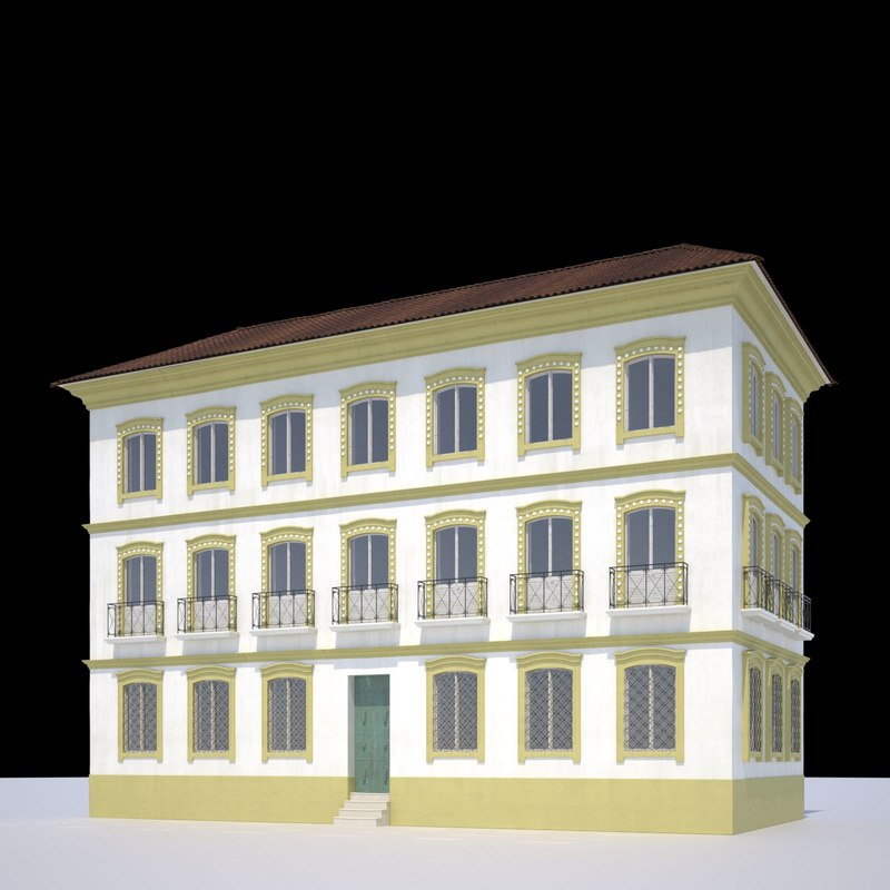 colonial building 3d model