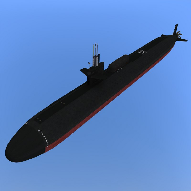 3d model uss dallas submarines dry