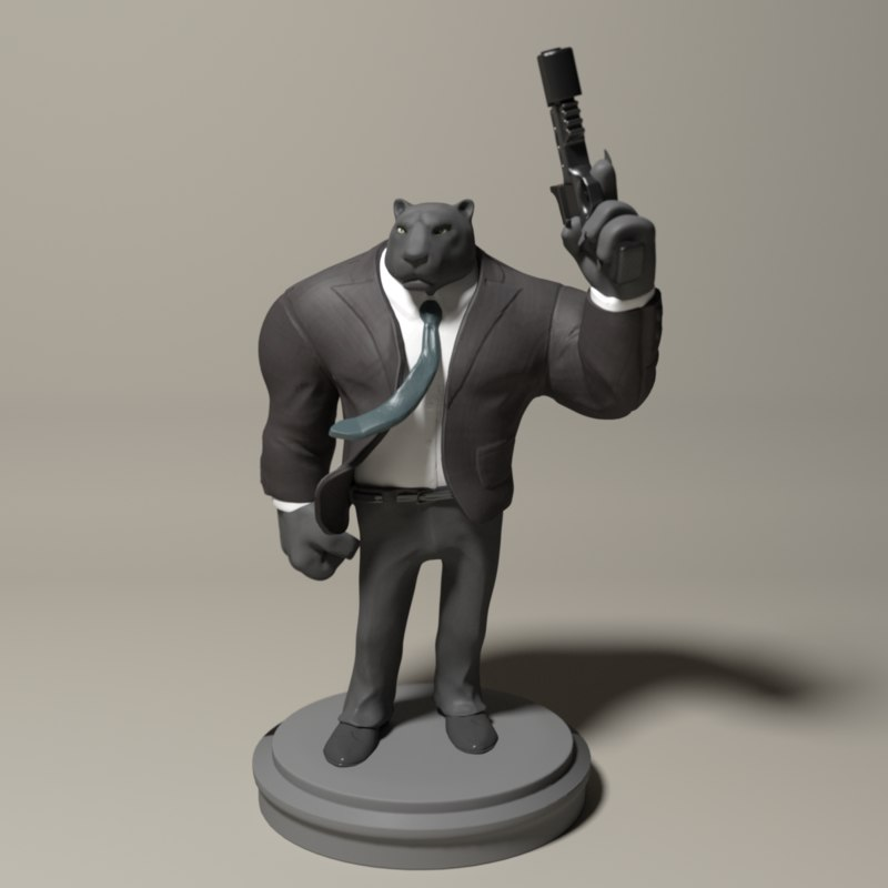 panther toy collectible 3d model
