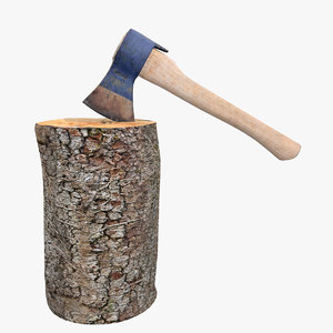 axe chopping block 3d model