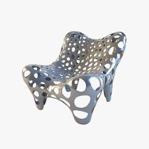 3d model armchair fauteuil ii metal