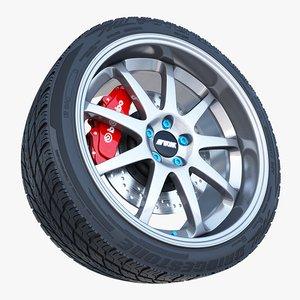 3d model work emotion xd-9 wheel tire