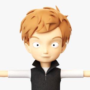 cartoon boy rigged 3d model