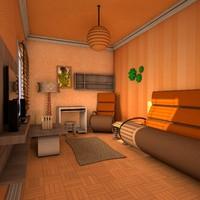 3d cozy living room model