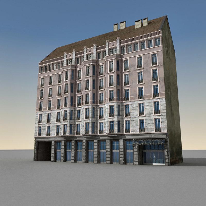3d model of european building europe