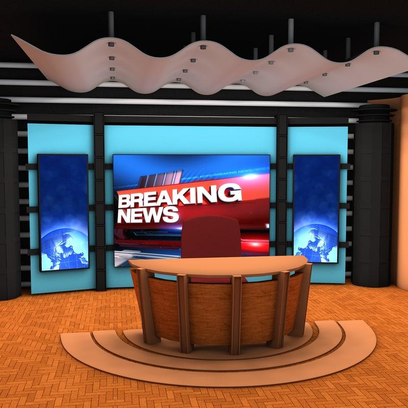 Live Video Chat Room Free News Studio 3d Model Galileo