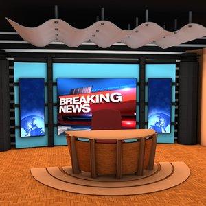 news studio 3d model