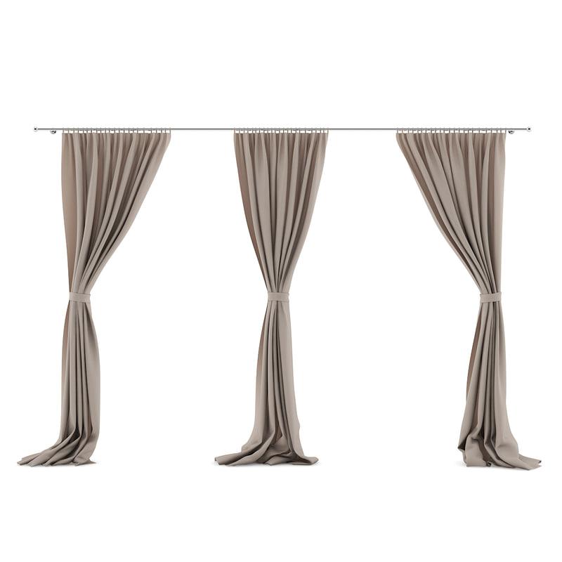 3 moel beige triple curtains