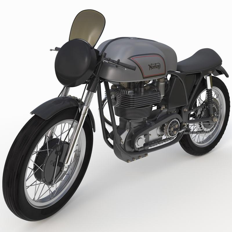 3d motorcycle norton manx rigged model
