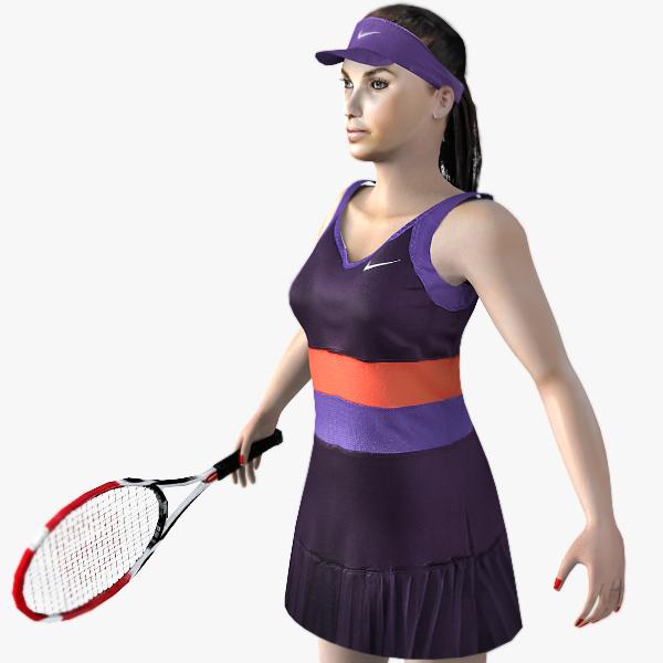 3d model realistic woman tennis player